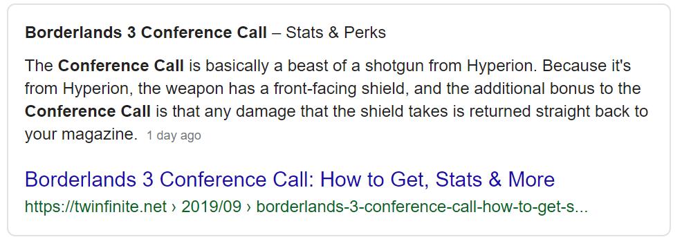 Borderlands 3 Conference Call Google result snippet