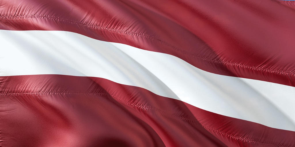 Latvia flag in red white and red